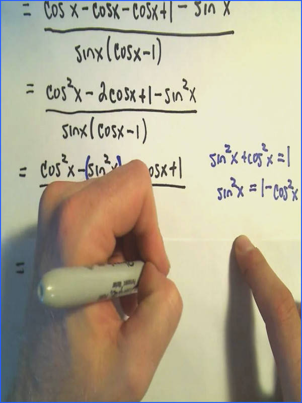 Simplifying Trigonometric Expressions Involving Fractions Example 2