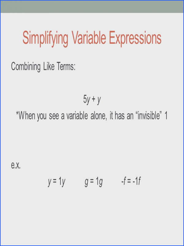 Simplifying Variable Expressions bining Like Terms 5y y When you see a variable