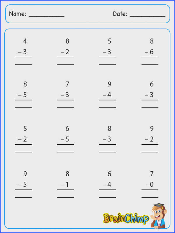 Single Digit Addition And Subtraction Worksheets Without Regrouping Worksheets for all Download and Worksheets