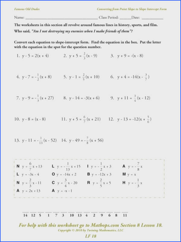 Lf 18 Converting From Point Slope To Slope Intercept Form – Mathops