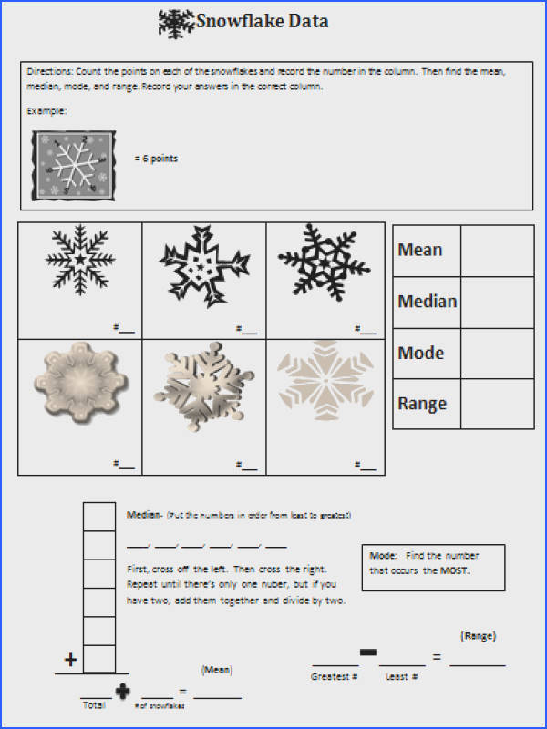 Snowflake Mean Median Mode and Range for Katy and the Big Snow
