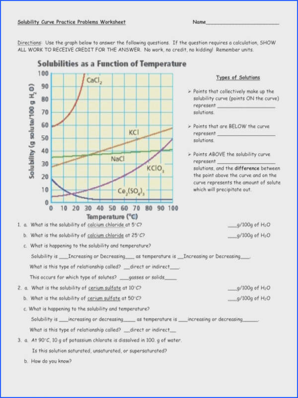 Solubility Curve Practice Problems Worksheet 1 Answers