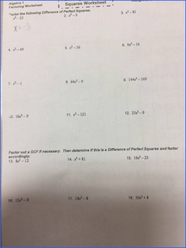 Algebra 1 Factoring Worksheot I Squares Worksheet Facfor the following Difference of Perfect Squares