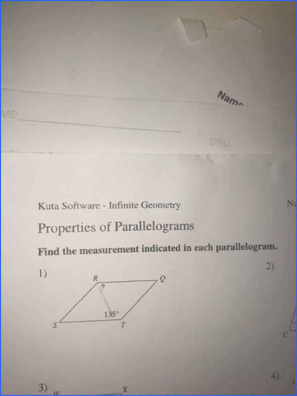 DRILL Kuta Software Infinite Geometry Properties of Parallelograms Find the measurement indicated in each parallelogram