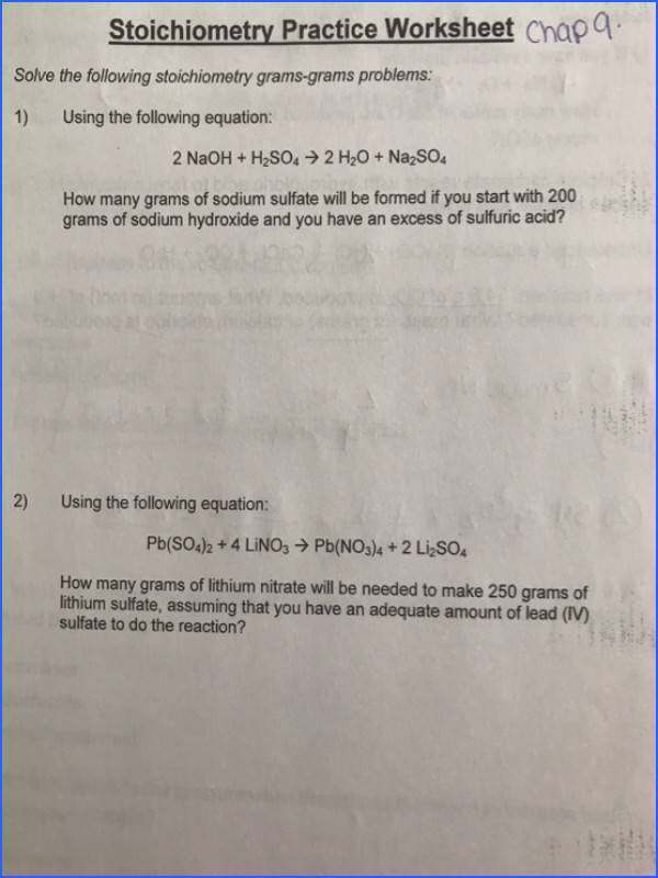 Stoichiometry Practice Worksheet Chapa Solve the following stoichiometry grams grams problems 1 Using