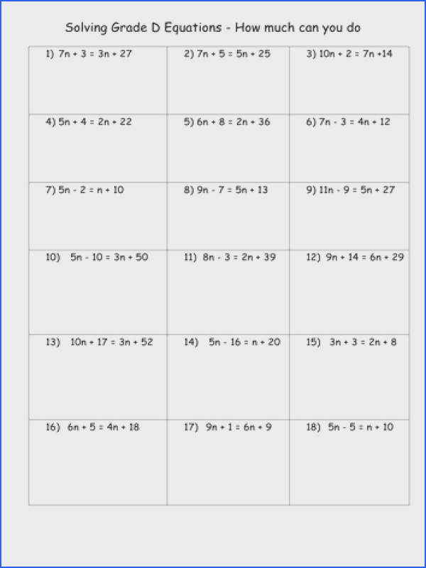 Solving Equations Worksheets Double sided equations