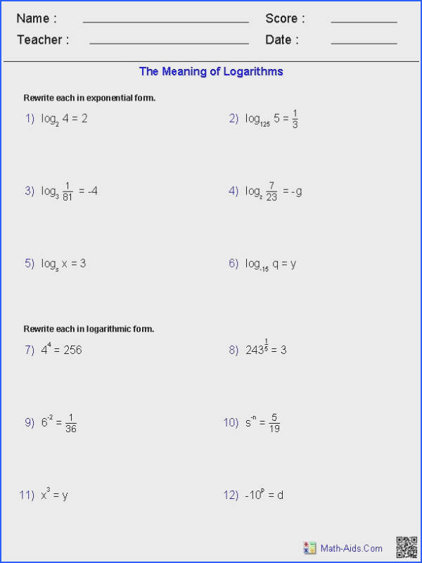 Solving Exponential and Logarithmic Equations Worksheet Unique 50 Image Below solving Logarithmic Equations Worksheet
