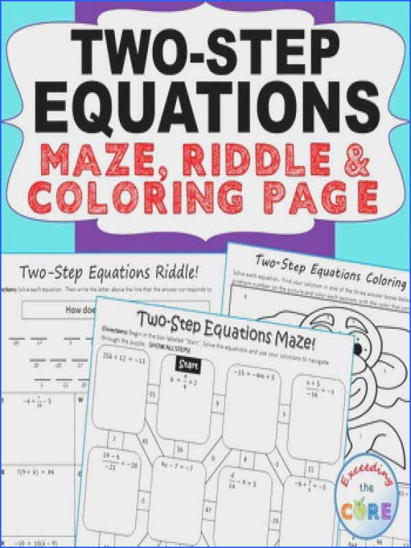 TWO STEP EQUATIONS Maze Riddle & Coloring Page Fun MATH Activities