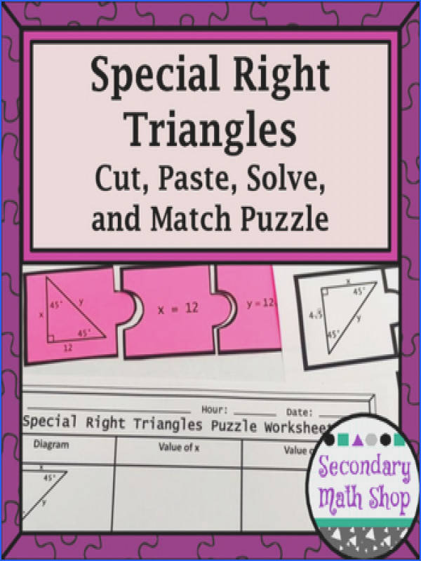 Special Right Triangles 45 45 & 30 60 Cut Paste