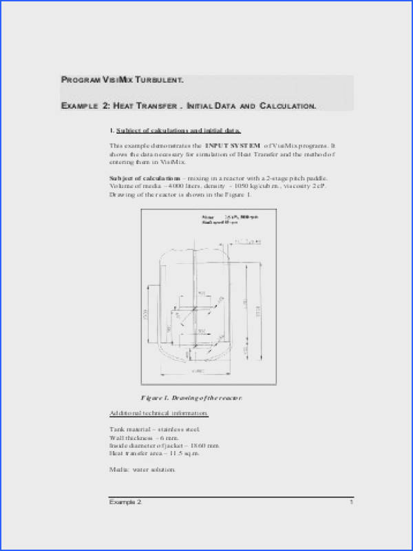 Heat Transfer Initial Data and Calculation VisiMix