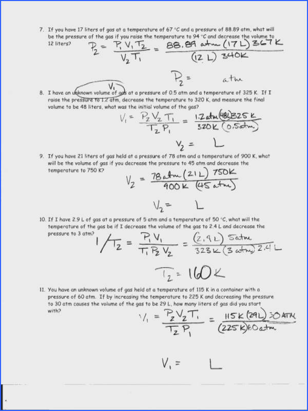 Heavenly Ws Specific Heat Problems Worksheet Answers 1