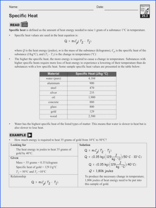 1 F A Cd12F Ec2E Specific Heat Worksheet With Answers Worksheets – Guillermotull from Specific Heat Worksheet
