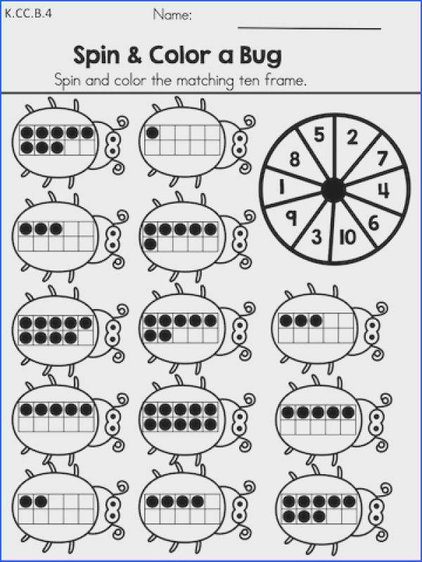 Spin & Color a Bug Counting and ten frames activity from the Spring Kindergarten