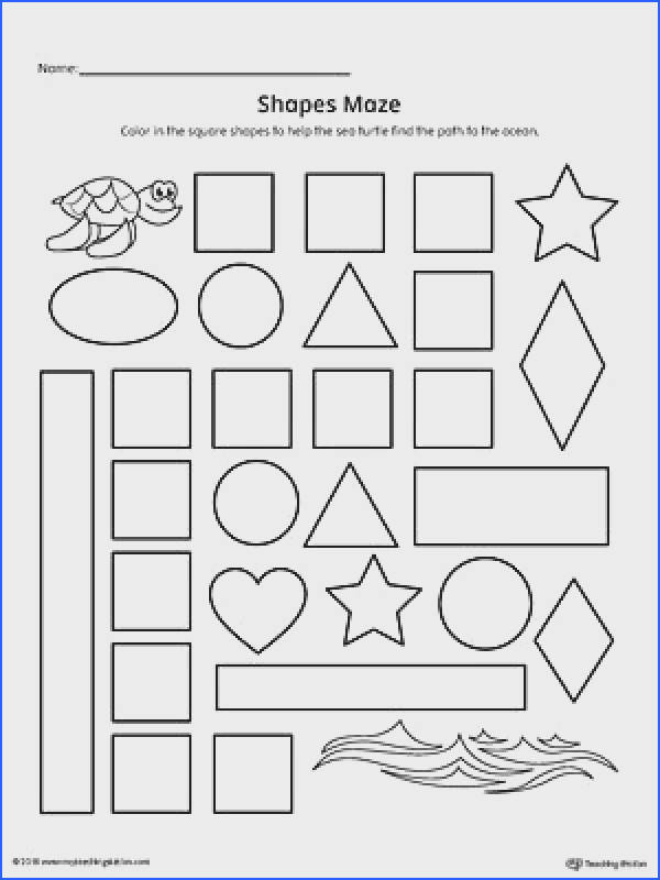Square Shape Maze Printable Worksheet Worksheet Practice recognizing the Square geometric shape by pleting the