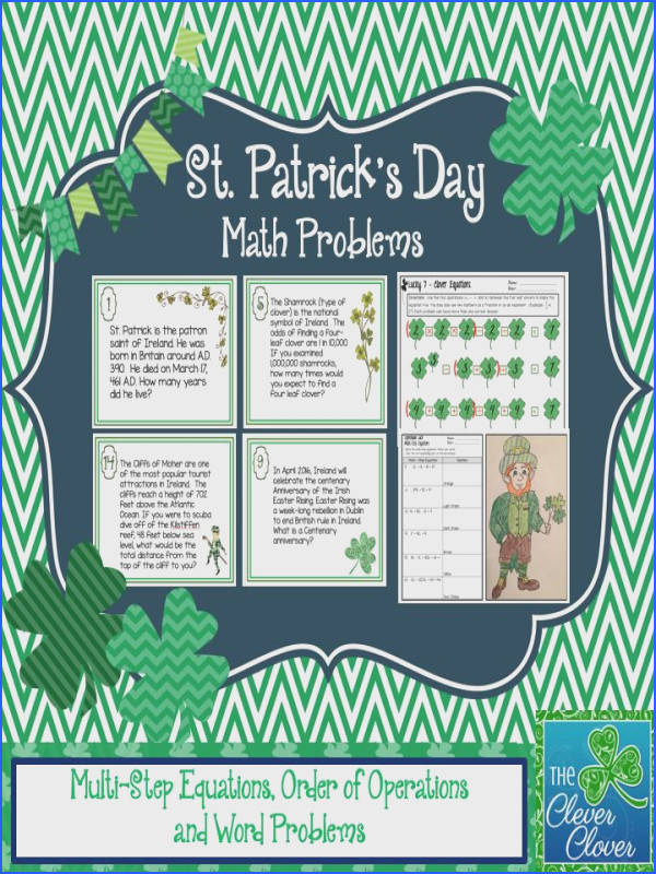 This product includes 16 word problems about St Patrick s day and Ireland It also