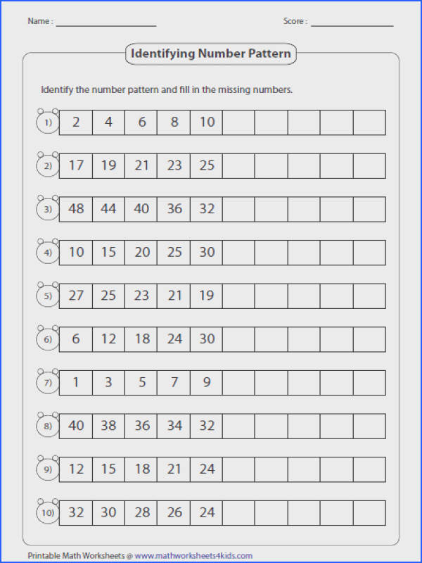 Pattern worksheets contain identifying next picture color size and shape increasing and decreasing number pattern writing pattern rule and more