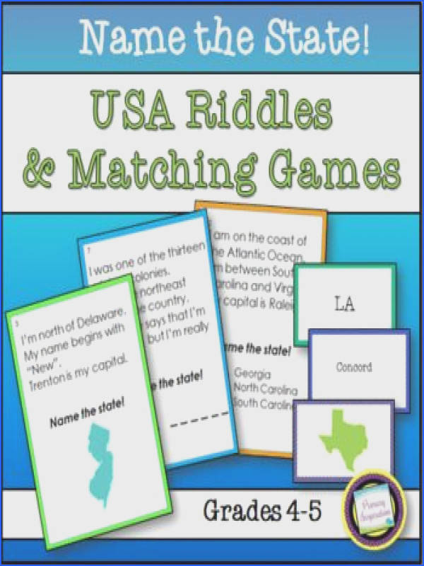 States of the USA Name the State Riddles and Games