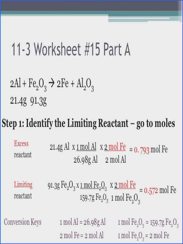 Stoichiometry Limiting Reagent Worksheet With Answers