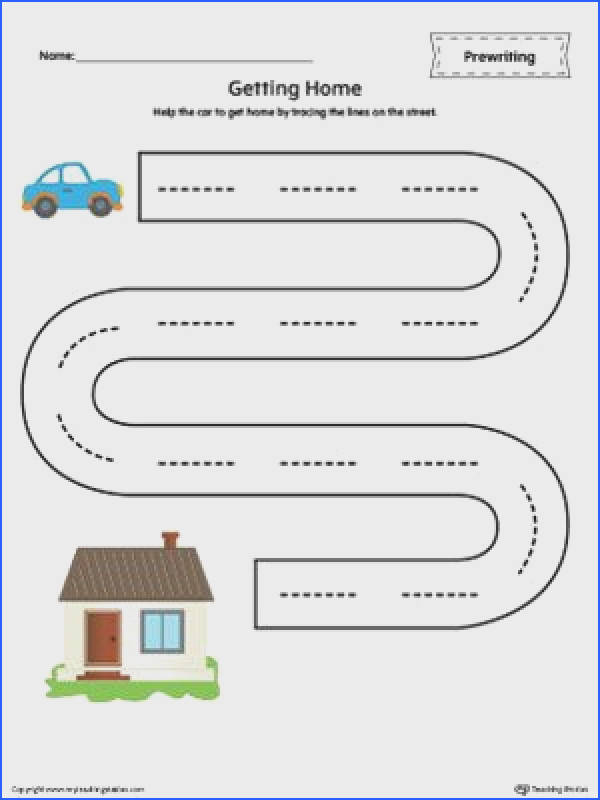 FREE Street Line Tracing Prewriting Worksheet Worksheet Help the car to home by tracing the lines on the street in this printable worksheet