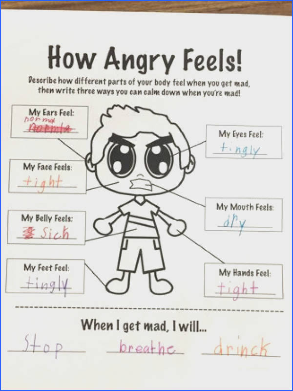 Stress management How Anger Feels Worksheet Therapy Related for Work Pinterest