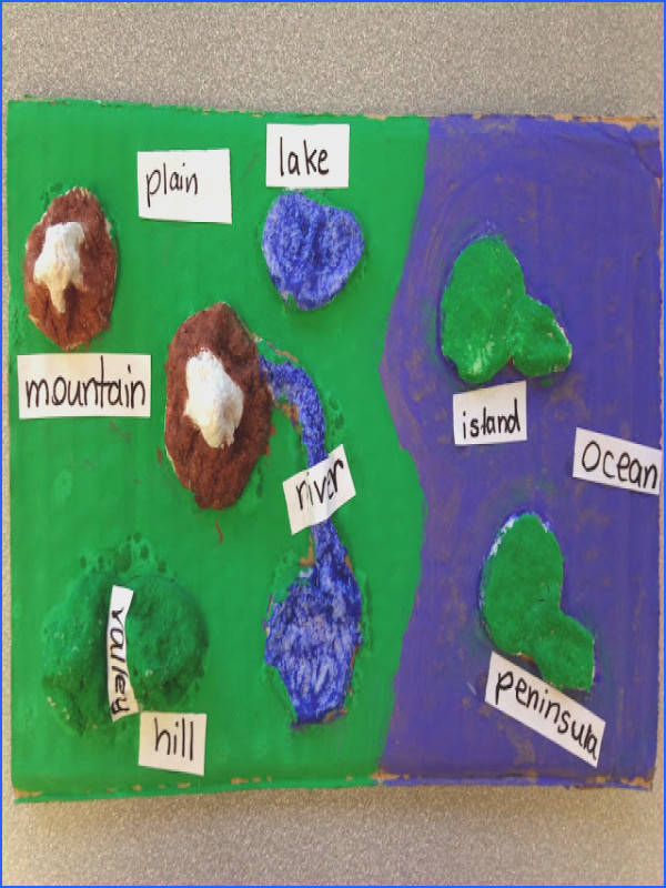 Students create landforms maps using homemade clay Mix to her one 5 pound bag of