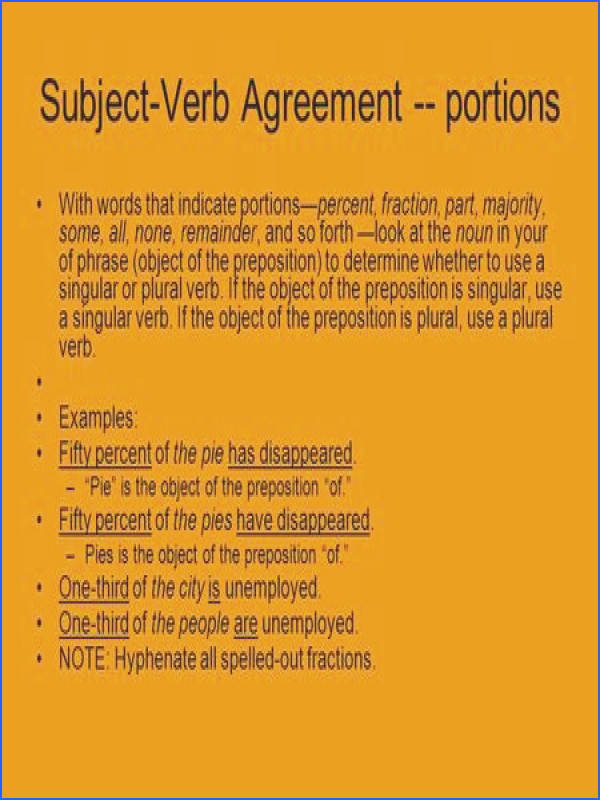 Subject Verb Agreement portions With words that indicate portions—percent fraction