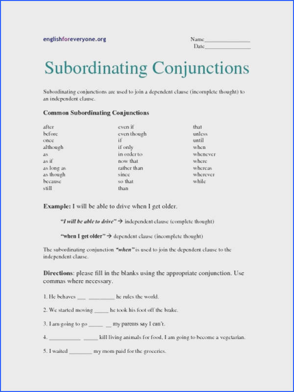 Subordinating Conjunctions Worksheet for 6th 7th Grade