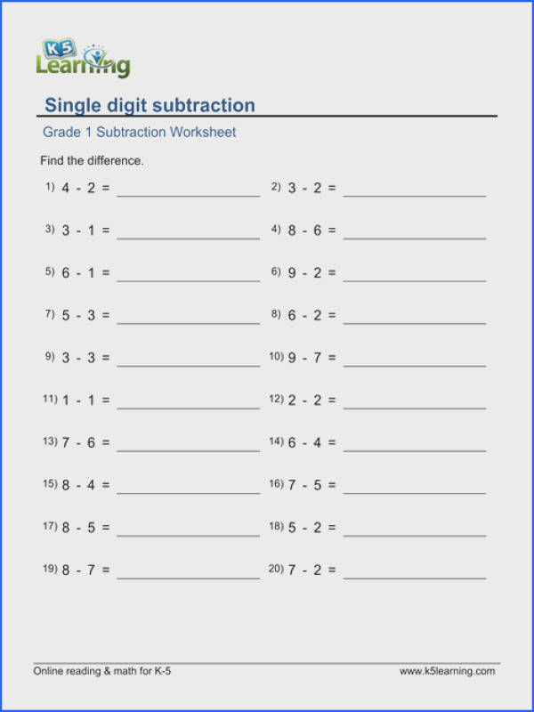 Subtract 1 Worksheet Worksheets for all Download and Worksheets