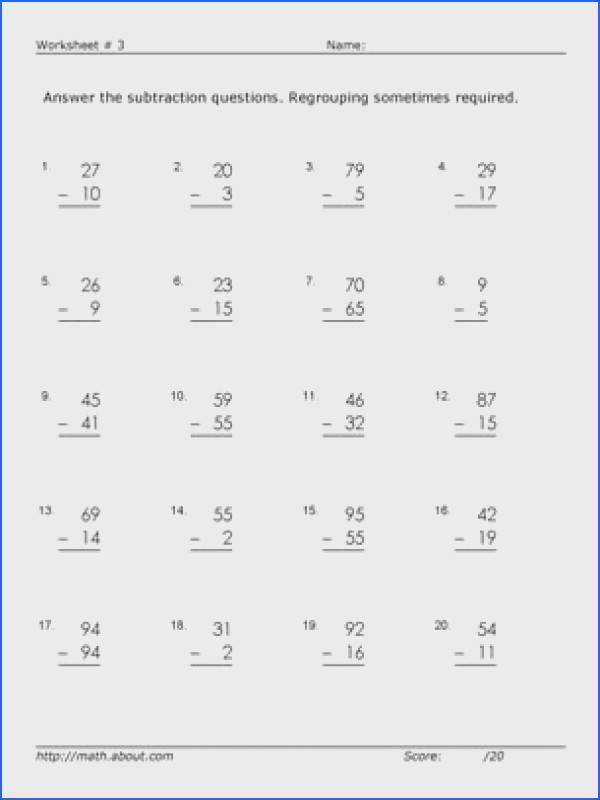 Worksheets for 2 Digit Subtraction With Regrouping Worksheet 3