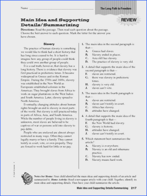 Main Idea and Supporting Details Summarizing Worksheet for 5th 6th Grade