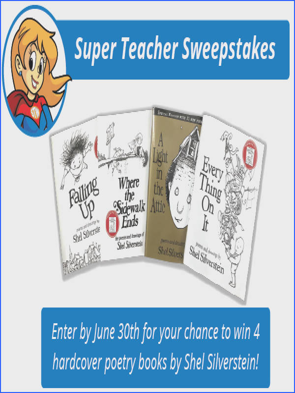 Don t for to enter the Super Teacher Worksheets June contest for your chance to win four hardcover poetry books by Shel Silverstein for your classroom