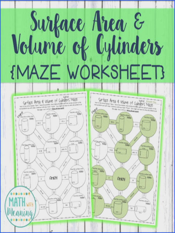 Surface Area and Volume of Cylinders Maze Worksheet CCSS 7 G B 6 Aligned