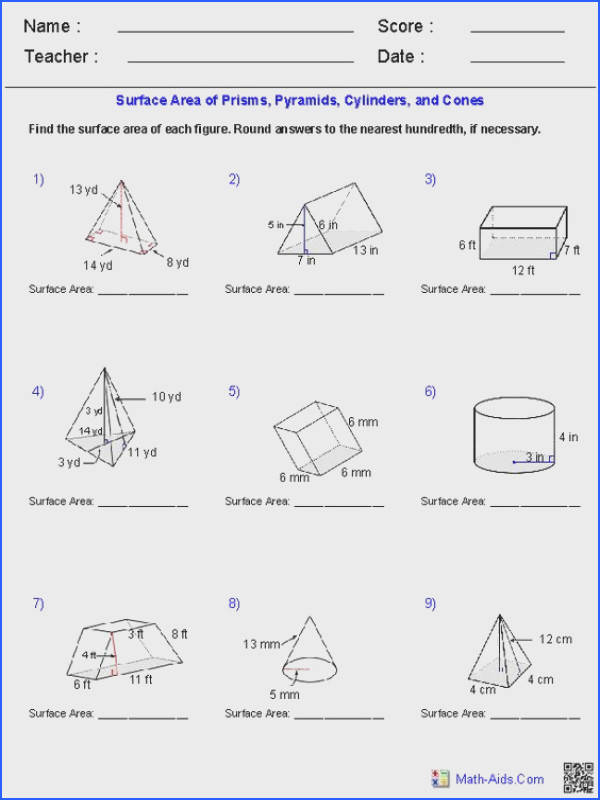 surface area of pyramids and cones worksheet prisms pyramids cylinders cones surface area worksheets