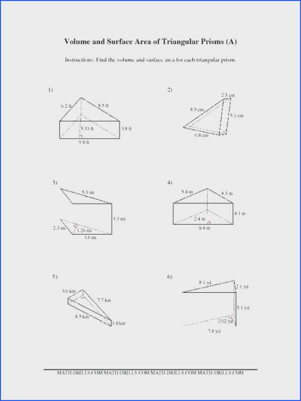 surface area of triangular prism worksheet for volume and surface area of triangular prisms a math