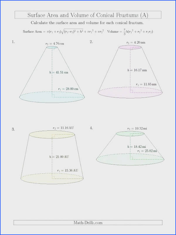 surface area worksheet pdf to her with volume and surface area of conical frustums two decimal places