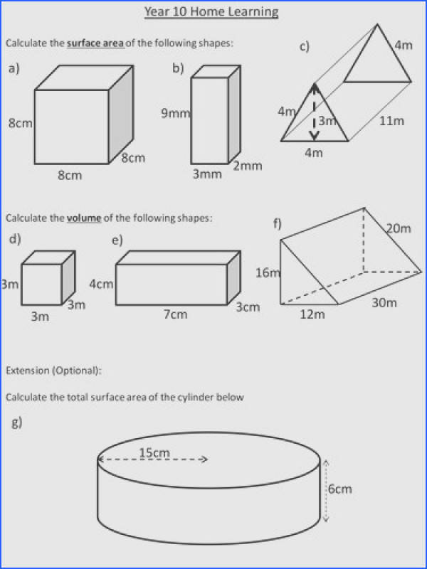 Surface Area and Volume of Prisms by dannytheref Teaching Resources Tes