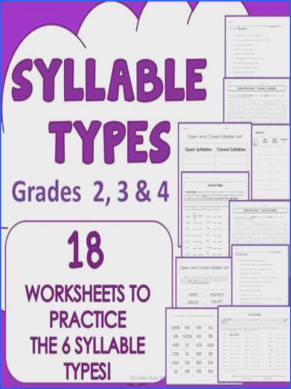 Syllable Types 18 Practice Worksheets 6 Types Grades 2 3 4