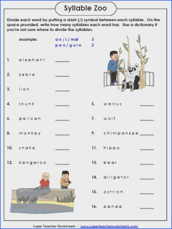 Syllable Zoo is A Fun Phonics Worksheet In which Students Count Image Below Syllable Worksheets
