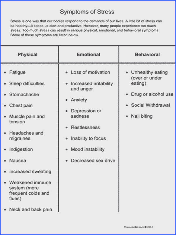 Symptoms of Stress Preview Educate clients about stress with this list of physical emotional