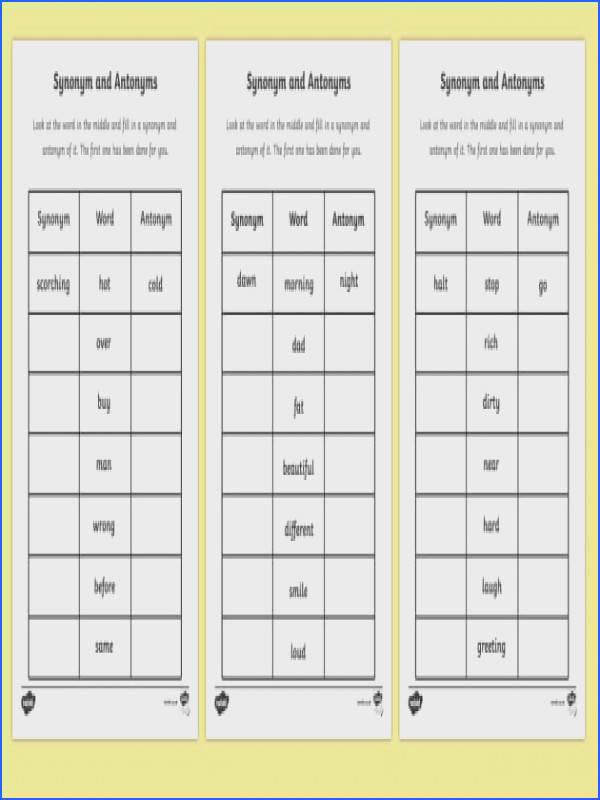 Synonyms and Antonyms Worksheet synonyms and antonyms synonym and antonym words synonym worksheets