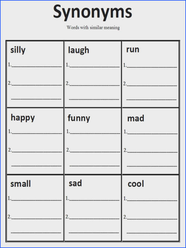 Synonym Worksheet The student I made this for loved it I made a