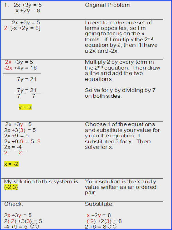 Systems Equations Worksheets With Answers For All