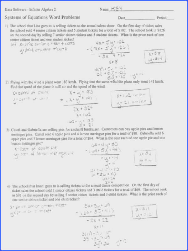 Systems Equations Word Problems Worksheet Answers