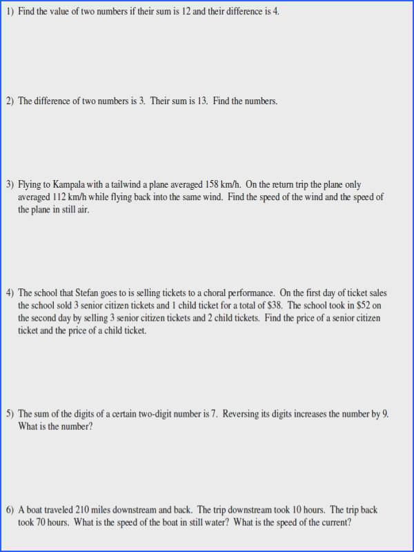 Systems Linear Equations Word Problems Worksheet Worksheets for all Download and Worksheets
