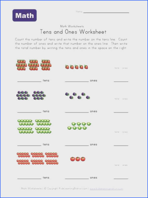 tens ones worksheet fruit selection of others