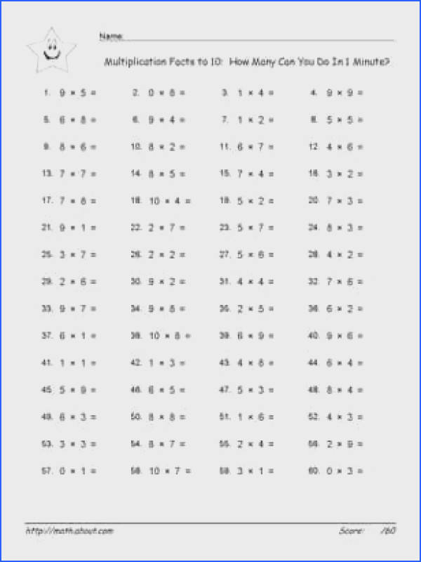 Timestables worksheet tests with the 10 times facts 1 Minute Timetables Test Multiplication Facts to 10