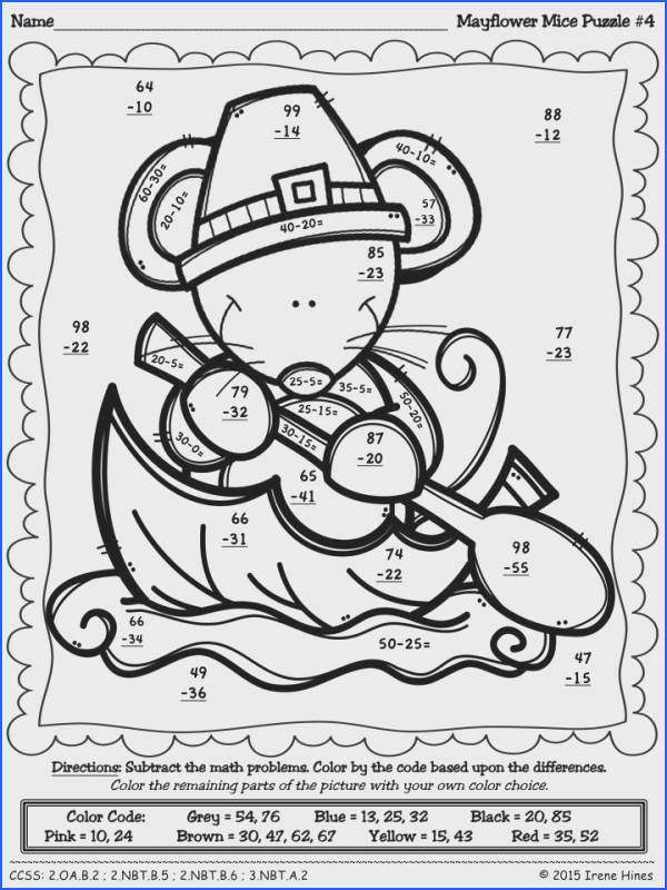 Thanksgiving Math Activities Mayflower Mice Color By Code 2 Digit Addition And Subtraction