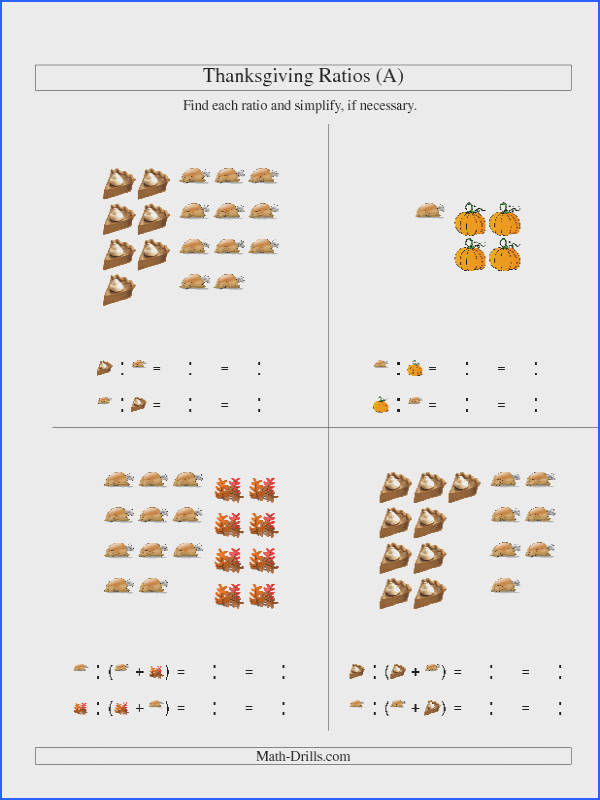 Thanksgiving Math Worksheet Thanksgiving Picture Ratios Including Part to Whole Ratios A