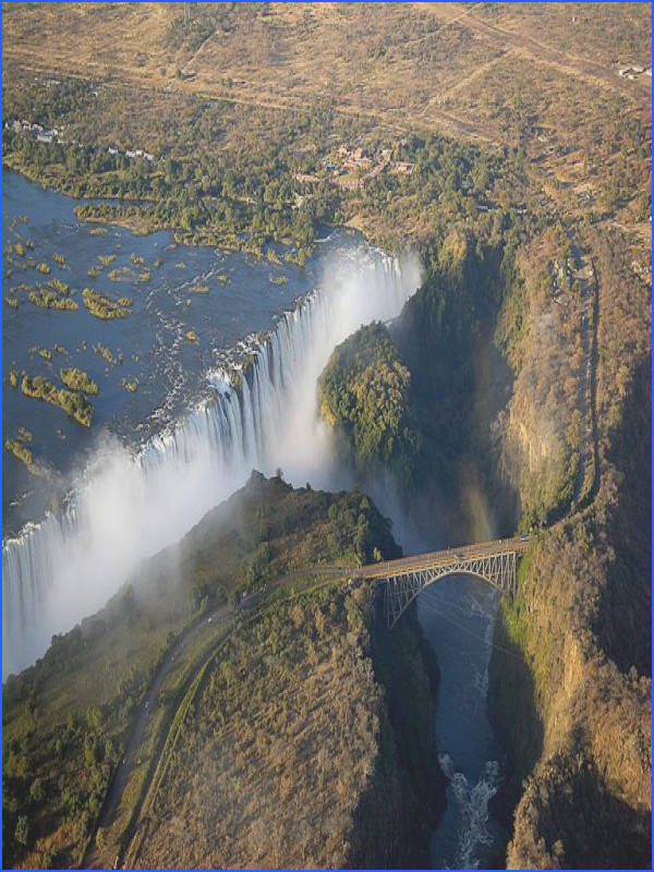 The bridge over the Zambezi River at Victoria Falls seperates the countries of Zimbabwe and Zambia Wolfgang Steiner Getty Geography