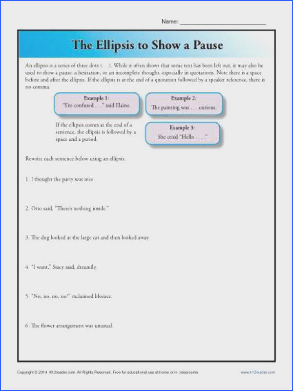 Punctuation Worksheet Using an Ellipsis to Show Pause